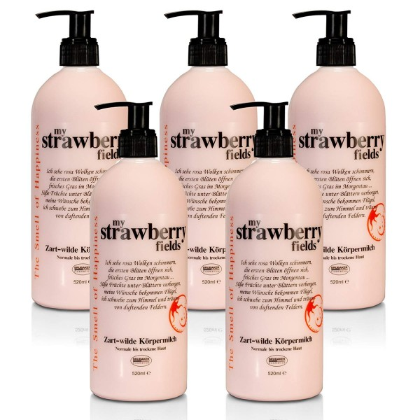 "BRUBAKER Happiness ""My Strawberry Fields"" Set 5x Body Lotion à 520 ml, Erdbeer"